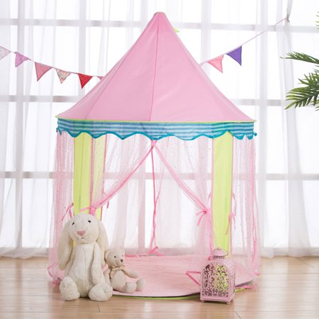 Large Playhouse - Large Princess Play House Tents Dome Castle Cute Folding Playhouse Indoor/Outdoor Children Kids Girls Toys Birthday Christmas Gift Pink