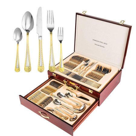 - Italian Collection 'Greek Medusa' 72-pc Premium Silverware Flatware Serving Set