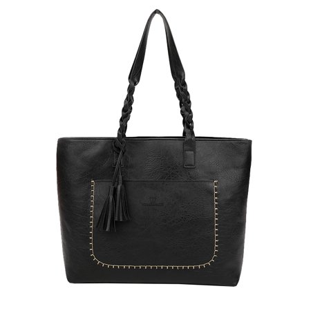 Fashion Women Handbag Tassel Zipper Closure PU Leather Straps Vintage Tote Shoulder Bag - image 7 de 7