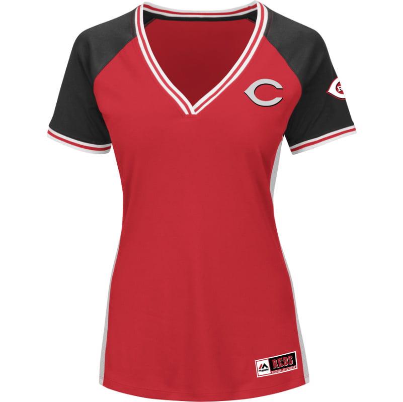 Cincinnati Reds Majestic Women's Plus Size League Diva Cool Base V-Neck T-Shirt Red by Profile