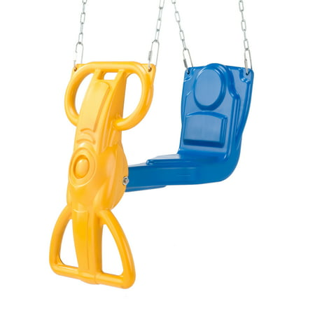 Swing-N-Slide Wind Rider Glider Swing with Chains, Blue and Yellow