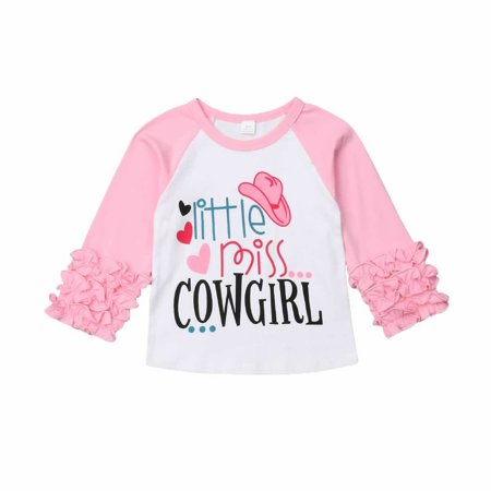 Infant Baby Girl Little Miss Cowgirl Love Heart Ruffle Long Sleeve T-Shirt - Little Miss Love Tee