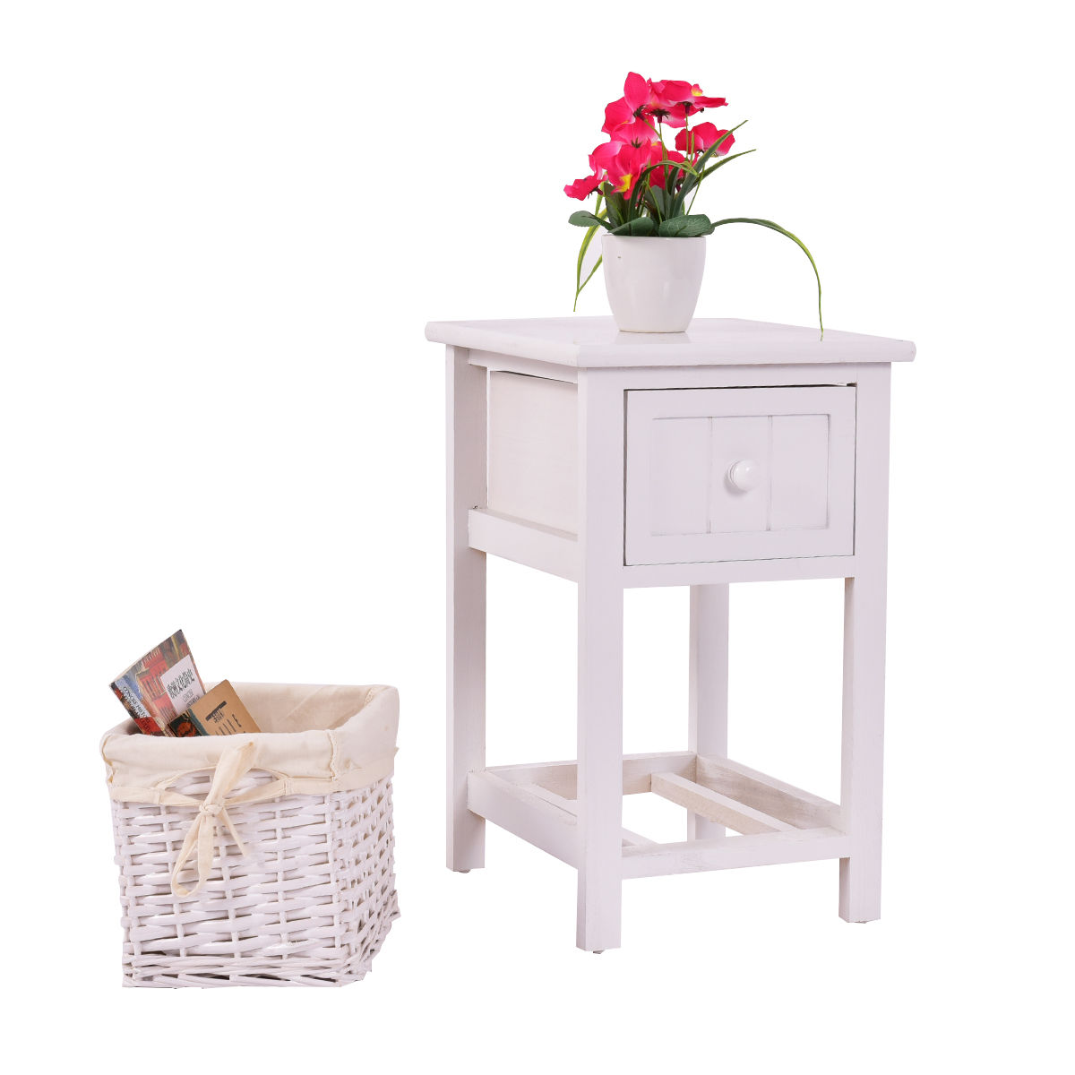 Costway Night Stand 2 Layer 1 Drawer Bedside End Table Organizer Wood W Basket by Costway