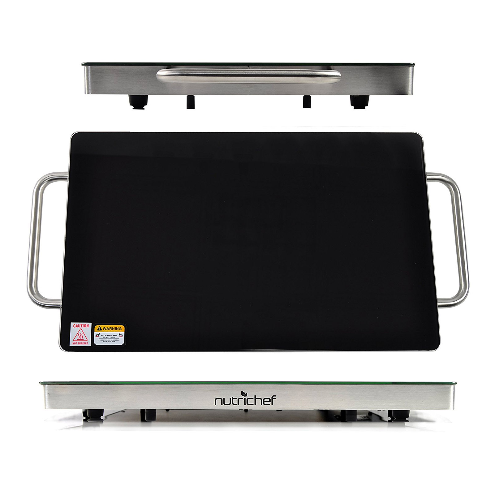 "NutriChef Electric Warming Tray / Food Warmer with Non-Stick Heat-Resistant Glass Plate - 14.5"" x 8.6"" Heating Surface"