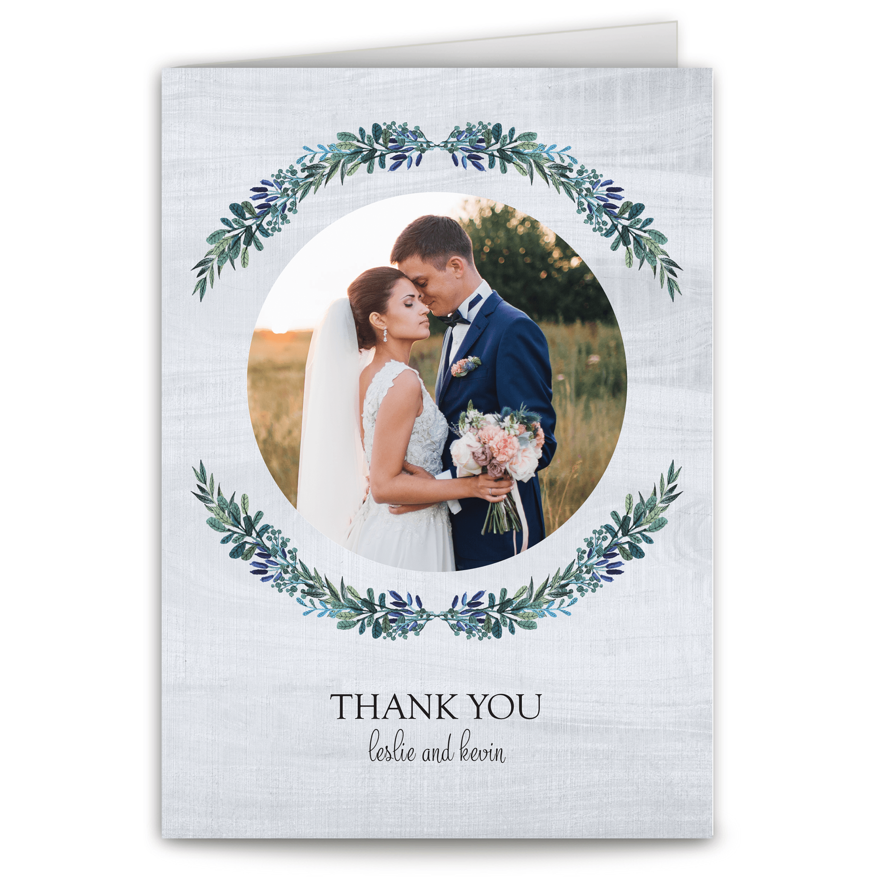 Personalized Wedding Thank You Card - Rustic Romance - 5 x 7 Folded