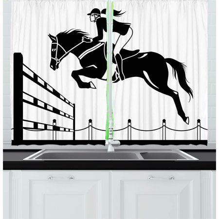 Cartoon Curtains 2 Panels Set  Racing Horse With A Jockey Girl Jumping Above Barrier Barn Farming Image Print  Window Drapes For Living Room Bedroom  55W X 39L Inches  Black And White  By Ambesonne