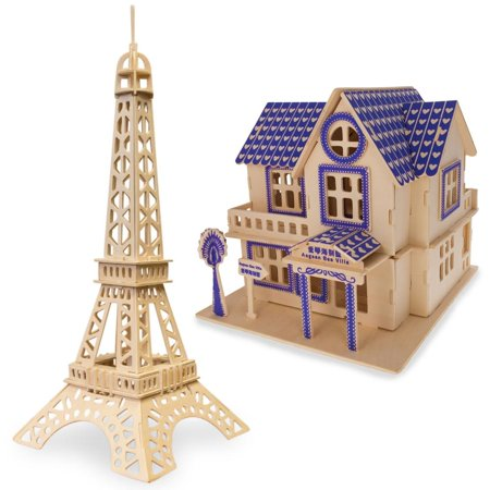 Set of 2 Eiffel Tower and House Model Kit Wooden 3D Puzzles](Eiffel Tower Puzzle)