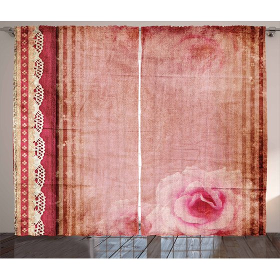 Shabby Chic Decor Curtains 2 Panels Set, Vintage Style Frame with ...
