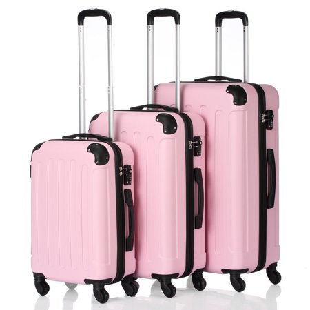 3Pcs 20/24/28 Luggage Travel Set Bag TSA Lock Trolley Carry On Suitcase Pink