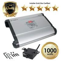 Car Amplifiers - ST-250.4 1000 Watt 4 Channels Class AB Amp 2/4 Ohm + Bass Knob