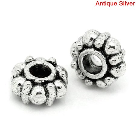 Sexy Sparkles 10 Pcs Round Spacer Beads Antique Silver Dot Pattern Carved 9mm