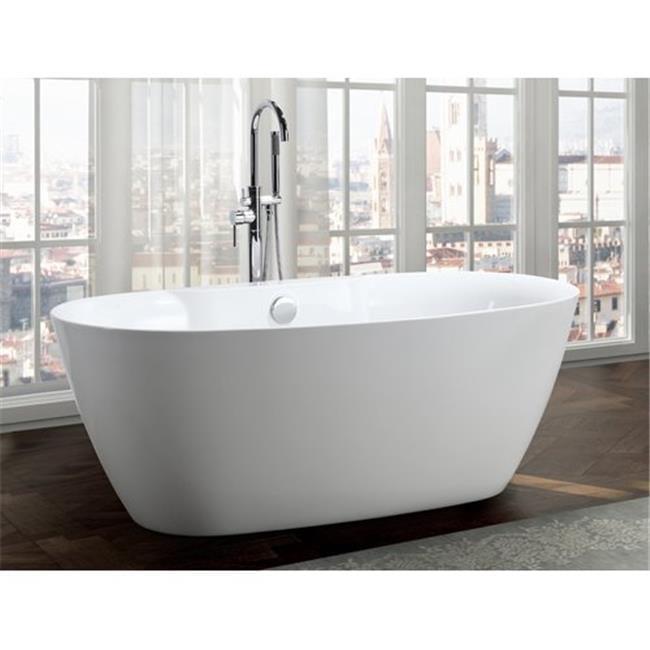 63 in. Freestanding Bathtub in Glossy White