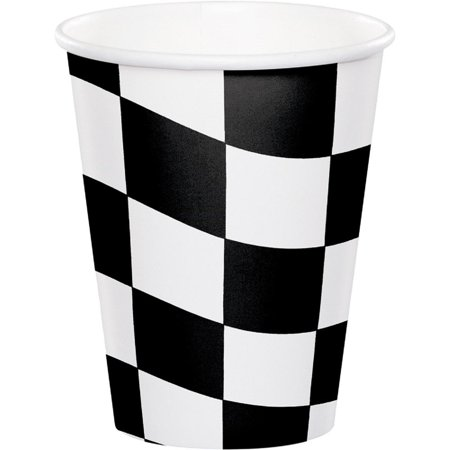 Club Pack of 96 Black Check Plastic Drinking Party Tumbler Cups 9oz for $<!---->