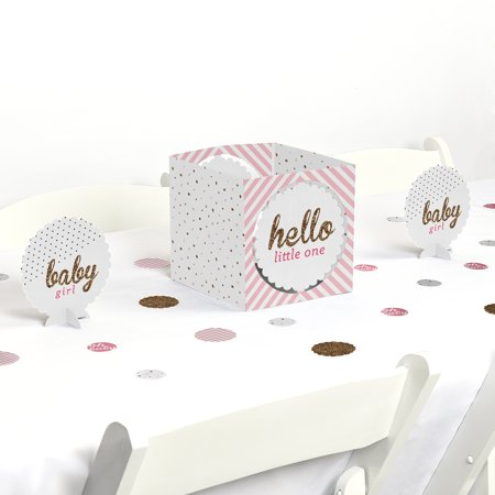 Hello Little One - Pink and Gold - Girl Baby Shower Party Centerpiece & Table Decoration Kit - Pink And Gold Baby Shower Decorations