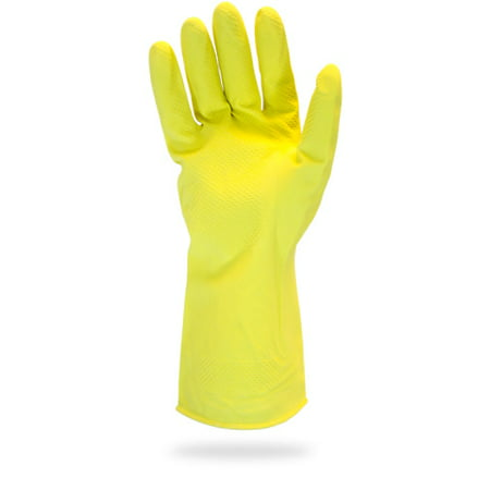 The Safety Zone GRFY-MD-1C Heavy Duty Rubber Gloves - 16 Mil Yellow Latex Flock Lined Medium Household Cleaning Dish washing Strong Food Safe 12