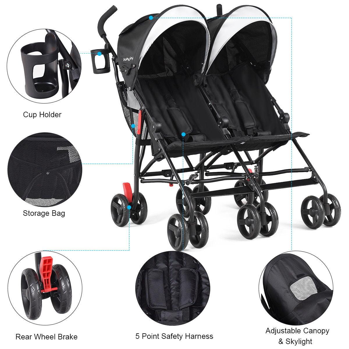 Baby-joy Foldable Twin Baby Double Stroller Kids Ultralight Umbrella Stroller Pushchair by Costway