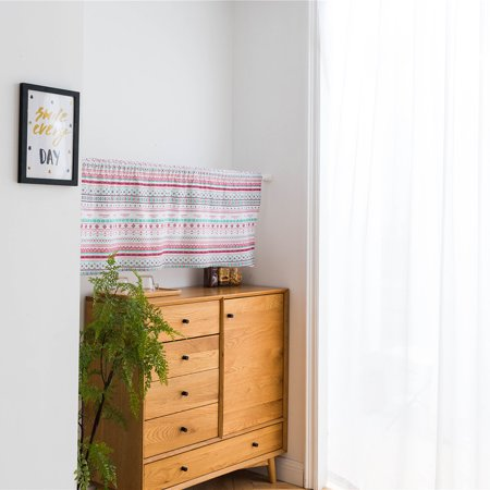 Valance Grid Stripe Style Blackout Window Curtain Valances