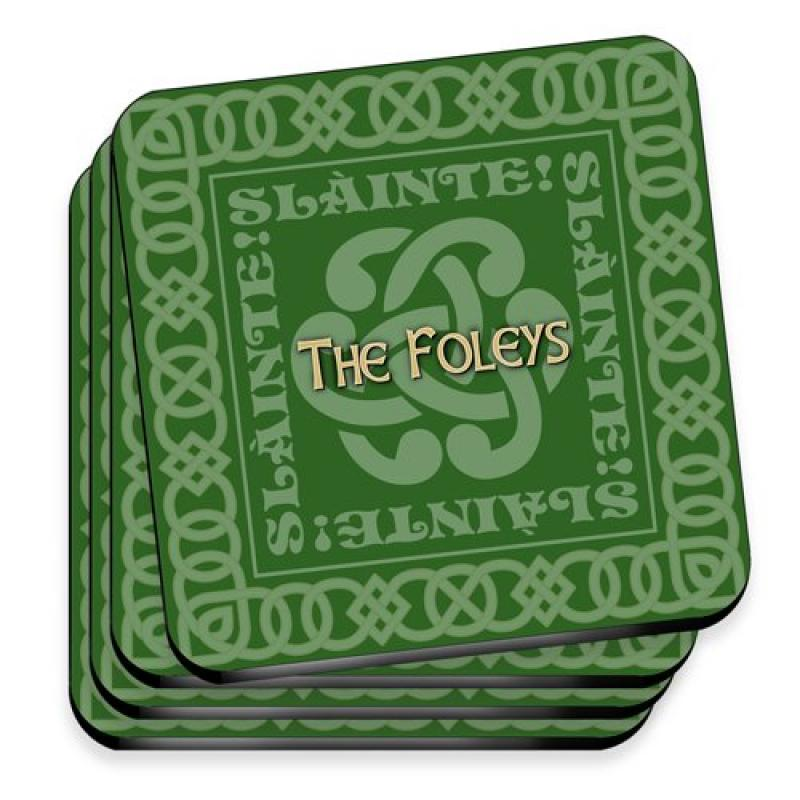 JDS Personalized Celtic Green Irish Family Coasters