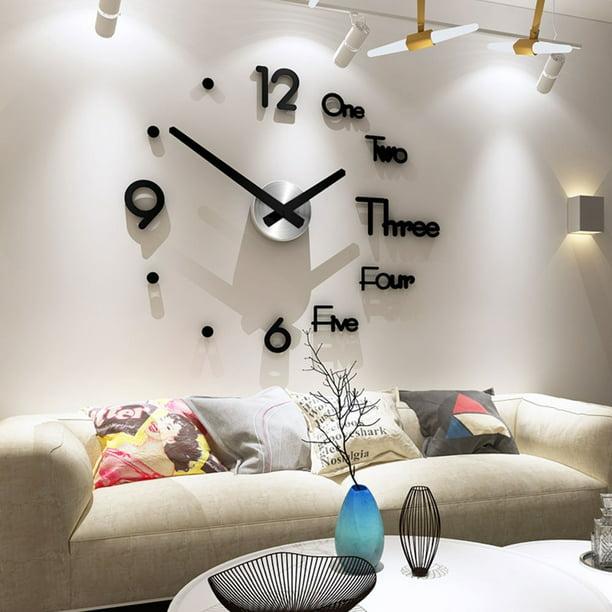Large Wall Clock Modern Designed 3D Wall Sticker Clock Silent Home Decor Quartz