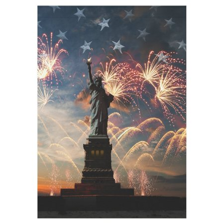 Fourth Of July Banner (MYPOP Statue of Liberty Independence 4th of July Firework Garden Flag House Banner 28 x 40)