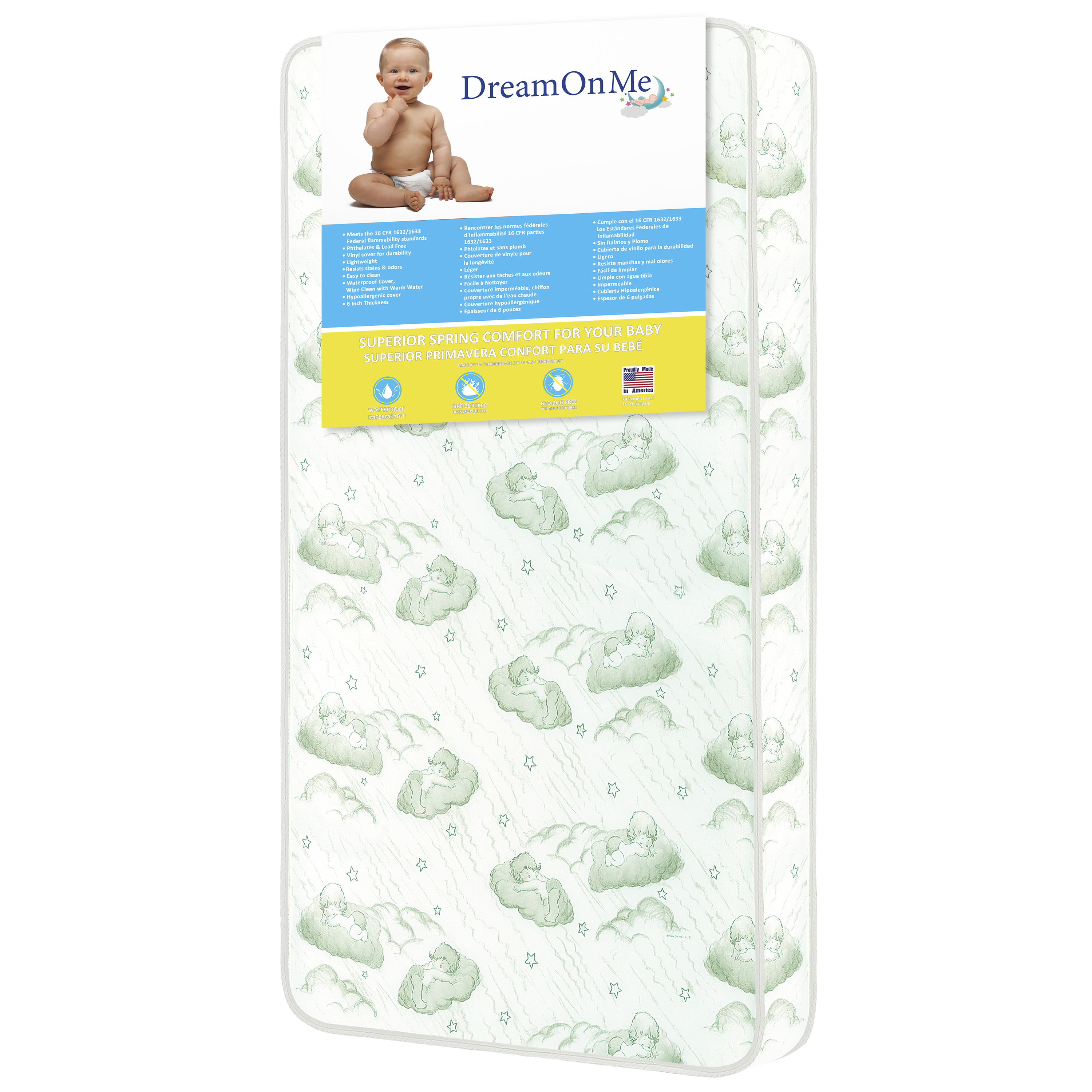 "Dream On Me, 6"" 96 Coil Spring Crib And Toddler Bed Mattress"