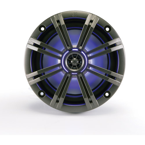 "Kicker KM65 6.5"" Marine Coaxial Speakers with 3/4"" Tweeters, LED Grille, Charcoal and White Grilles, 4-Ohm"