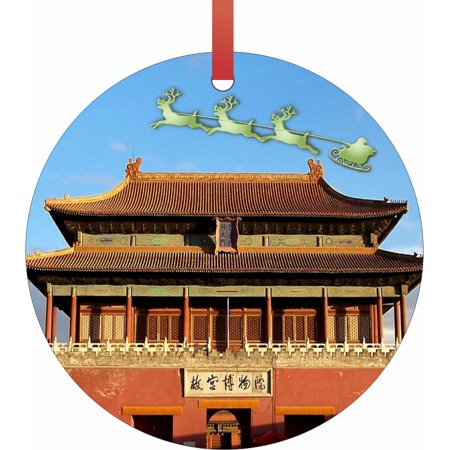 Santa and Sleigh Over The Forbidden City - China TM - Double-Sided Round-Shaped Flat Aluminum Christmas Holiday Hanging Ornament with a Red Satin Ribbon. Made in the USA!