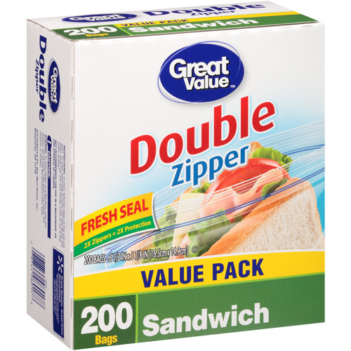 Great Value Double Zipper Sandwich Bags, 200 count