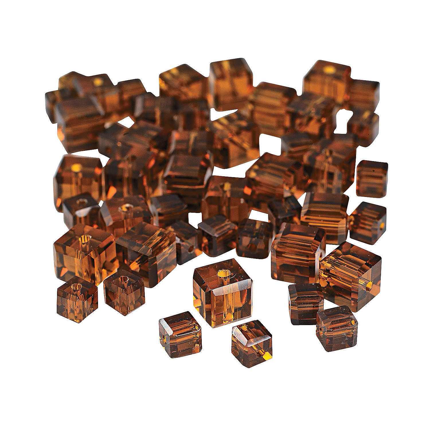 IN-68/26710 Chocolate Brown Cube Cut Crystal Beads - 4mm-6mm 48 Piece(s)