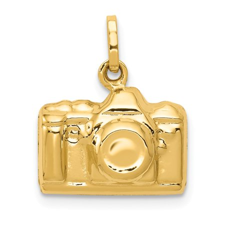 14K Yellow Gold 3-D Polished Camera Charm 17mm x 13.5mm