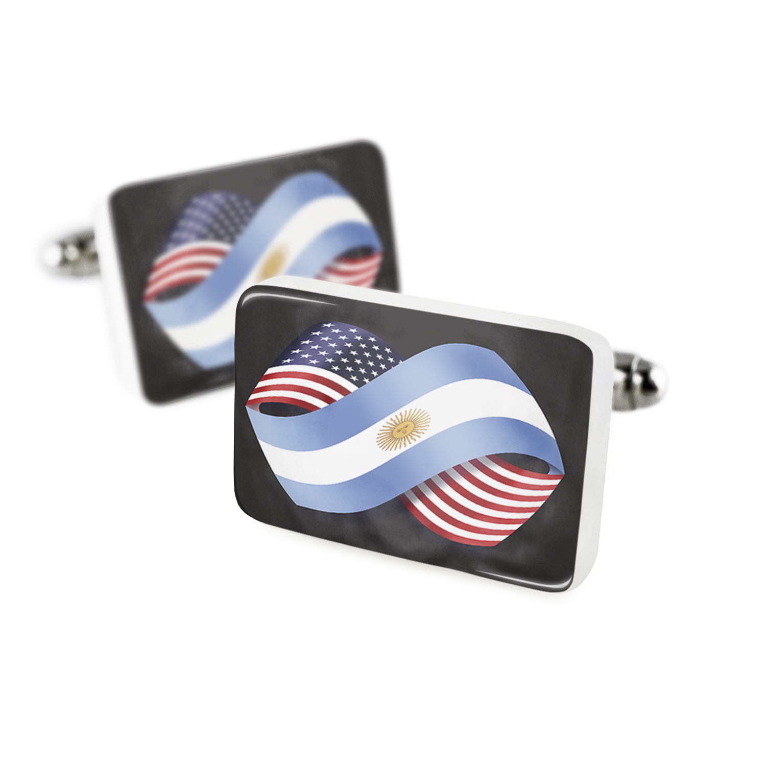 Cufflinks Friendship Flags USA and Argentina Porcelain Ceramic NEONBLOND