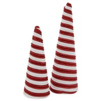 Belham Living Unlit Conical Christmas Tree 16 in, Red and White