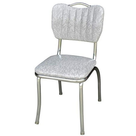 Richardson Seating Corp 4160CIG 4160 Handle Back Diner Chair -Cracked Ice Grey- with Single Tone Channel Back and 1 in. Pulled Seat  - (Chanel Grey)