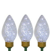 Set of 3 Lighted LED C9 Bulb Christmas Pathway Marker Lawn Stakes - Clear Lights