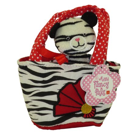Aurora World Plush - Mini Fancy Pals Pet Carrier - WHITE TIGER in Tiger Print with Red Fan (5