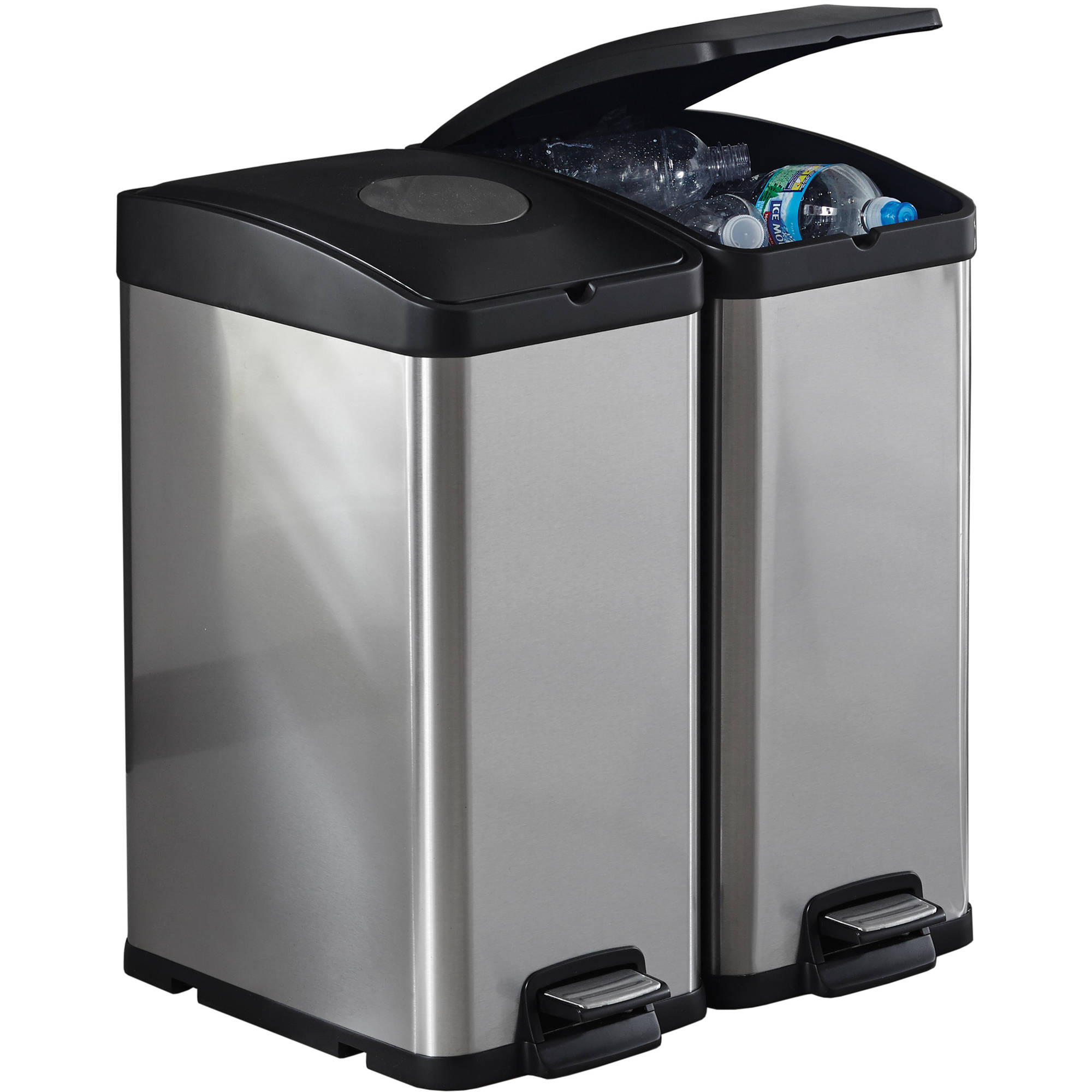 Kitchen Recycle Bin Stainless Steel Trash Can Recycling Garbage ...