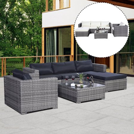 Costway 6PC Furniture Set Patio Sofa PE Gray Rattan Couch 2 Set Cushion Covers ()