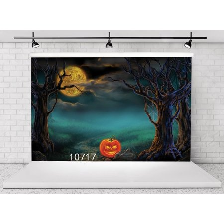 HelloDecor Polyster 7x5ft Halloween Pumpkin Horror Nights Moon Mysterious Forest Costume Party Masquerade Decoration Photo Backdrops Studio Background Studio Props - Halloween Horror Nights Party