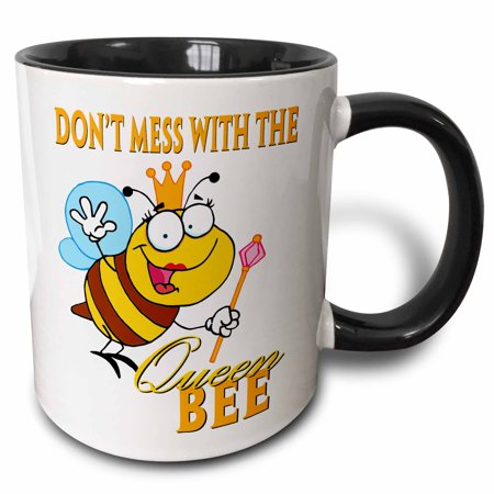 3dRose Dont Mess With The Queen Bee, Two Tone Black Mug, (Emma Bridgewater Rose And Bee Mum Mug)