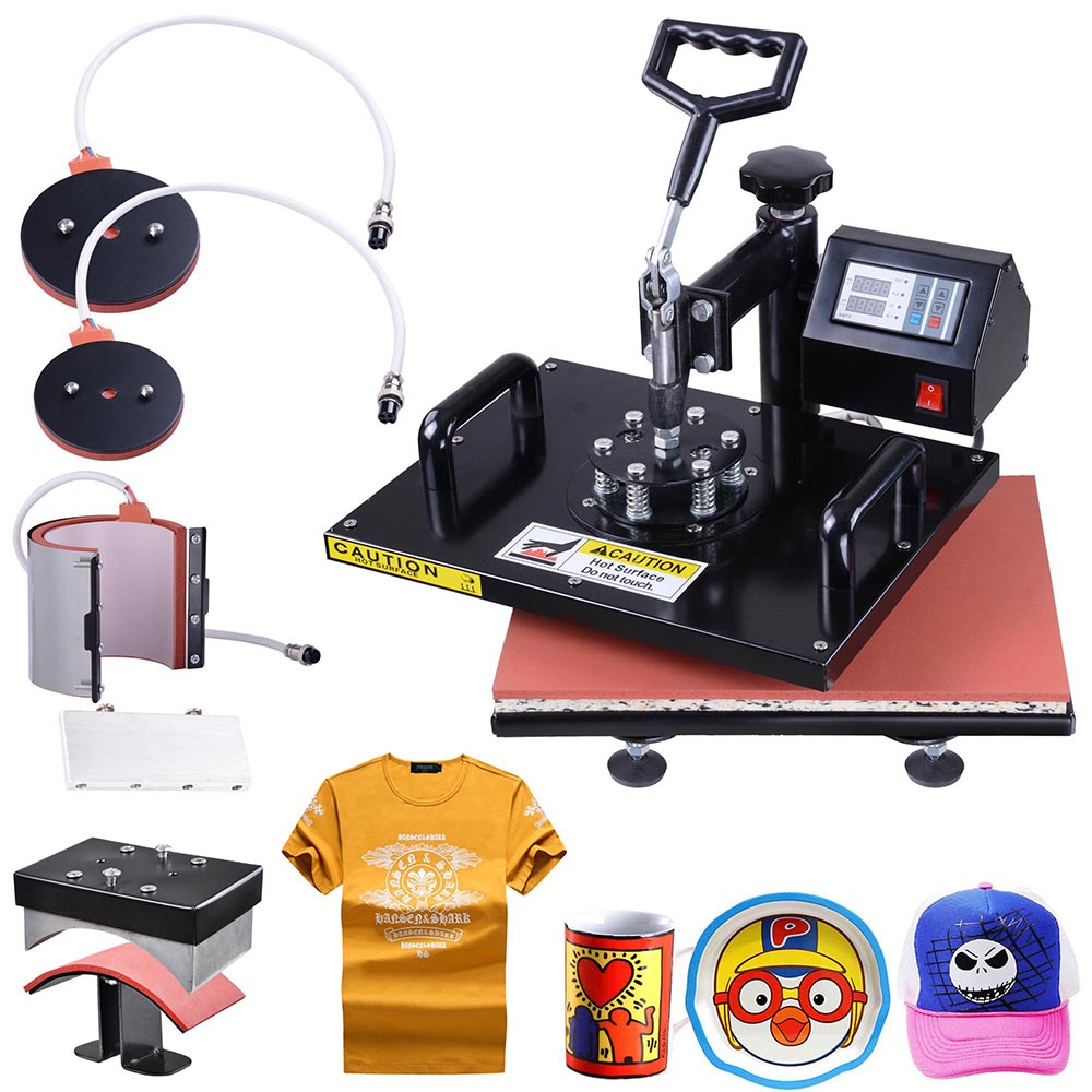"""Yescom 5-in-1 12""""x15"""" Digital Heat Press Transfer Sublimation Machine w/ Gloves for for T-Shirt Cup Hat Cap Printing"""