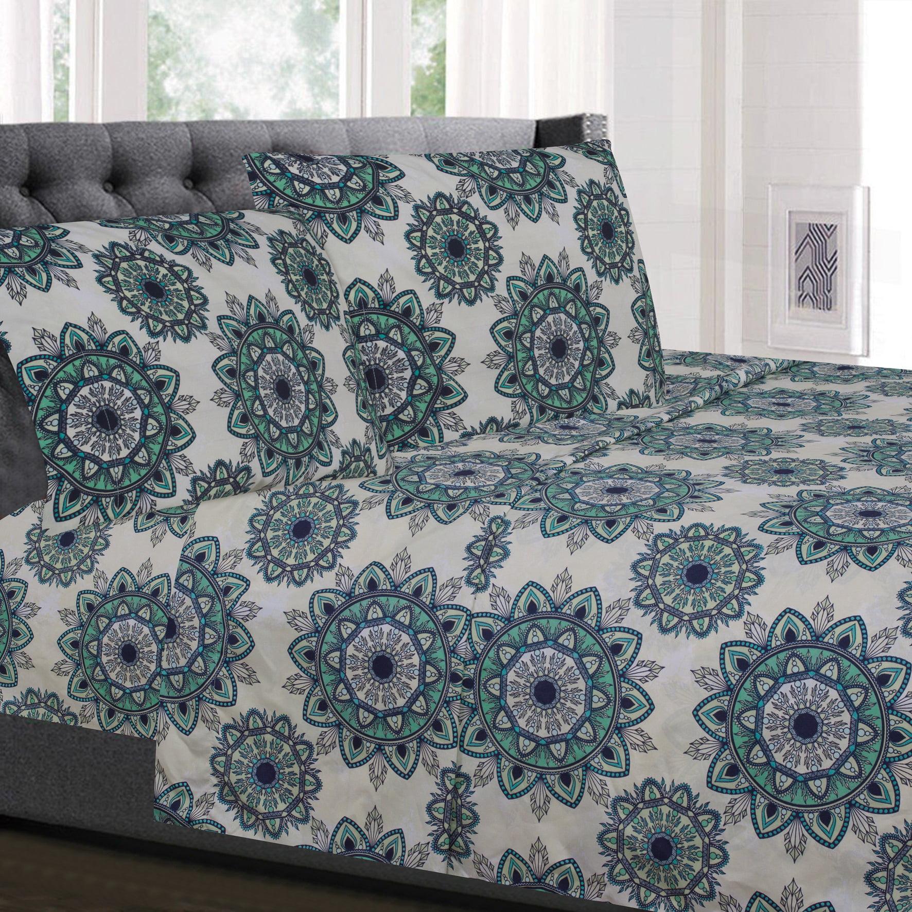 Ashley Green Mandala Pattern 4-Piece 1800 Thread Count Sheet Set