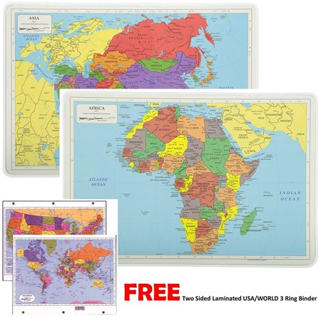 Painless Learning Educational Placemats For Kids Laminated World and Africa Map Set Free Two Sided UNITED STATES/WORLD Maps 3-Ring Binder - Two Maps