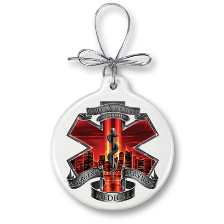 Red High Honor Ems Tribute Christmas Tree Ornaments