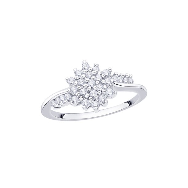 KATARINA Diamond Cluster Fashion Ring in 14K White Gold (1/4 cttw) (I-Color, SI3/I1-Clarity) (Size-8.5)