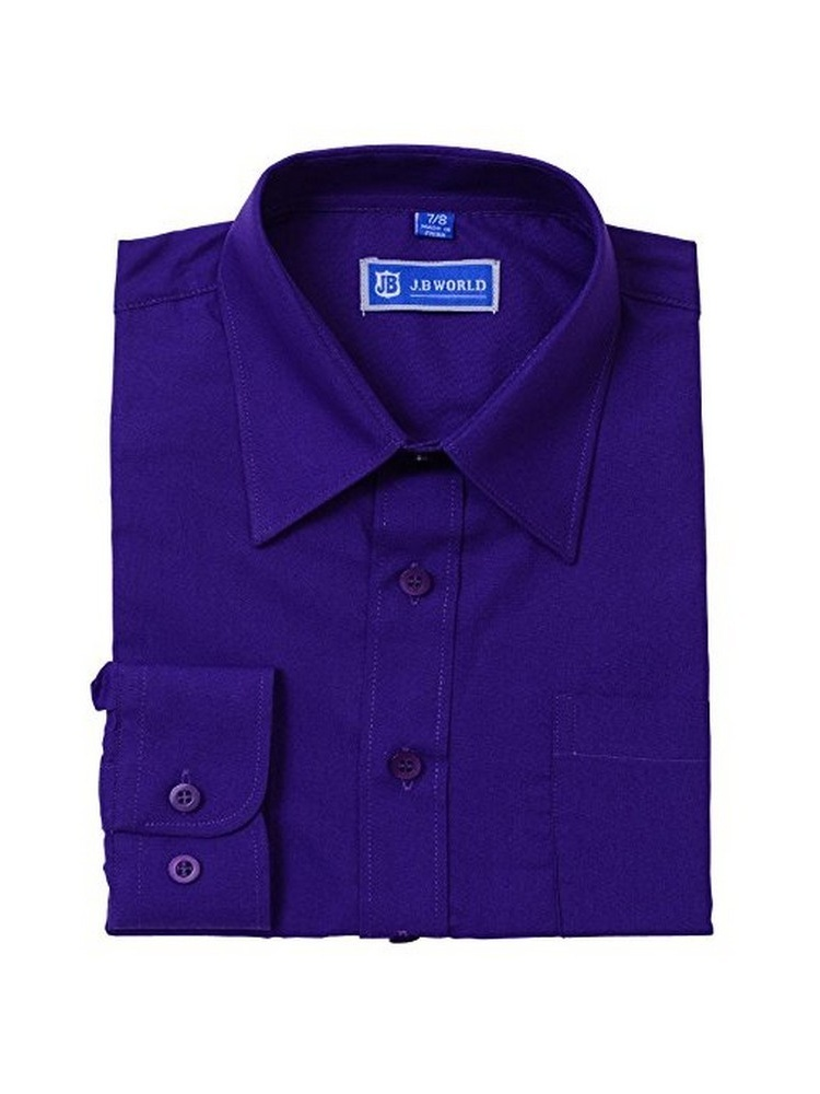 JB World Boys Purple Long Sleeve No Button Collar Uniform Dress Shirt