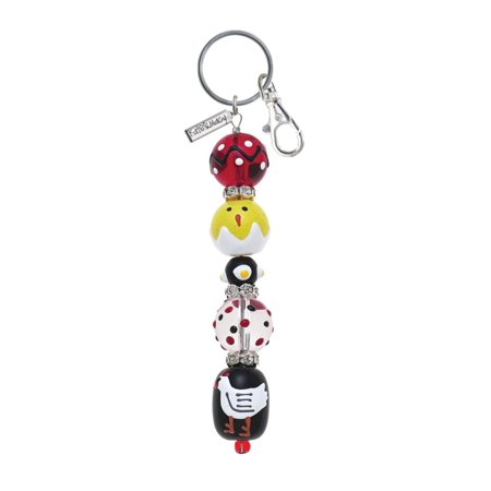 Beaded Keychain (Chicken and Chicks Rhinestone Glass Beaded Kate and Macy Keychain)