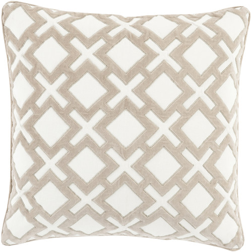 "Surya Alexandria Down Fill 18"" Square Pillow in Ivory"