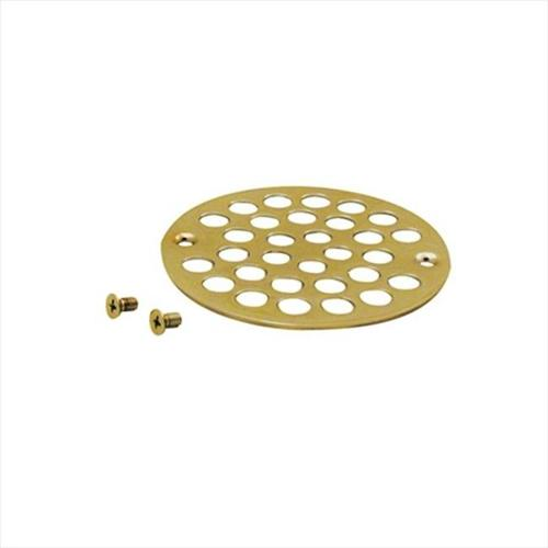 4 in. O.D. Shower Strainer Cover Plastic-Oddities Style in Polished Brass