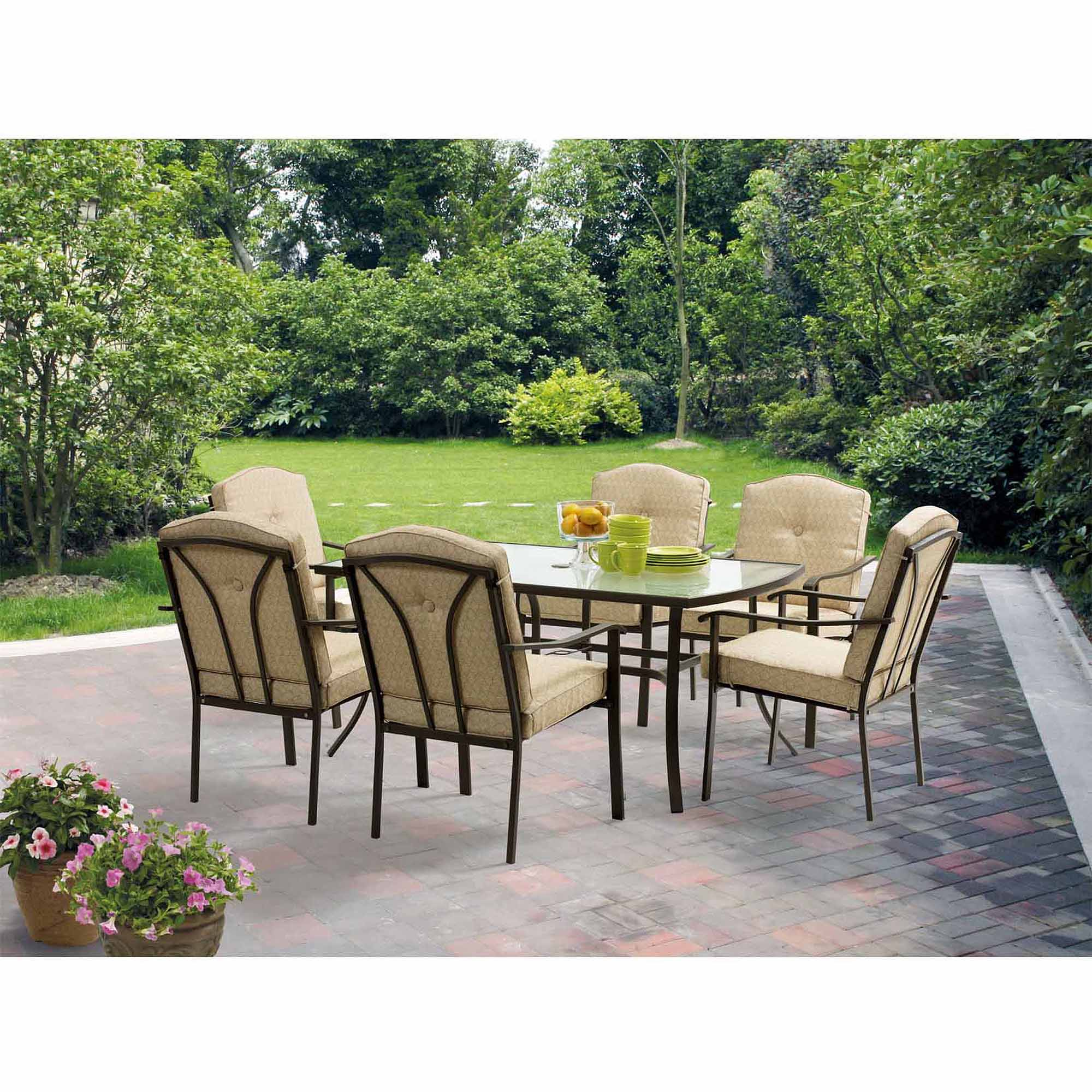 Mainstays Brookwood Landing 7 Piece Patio Dining Set Tan Box 2