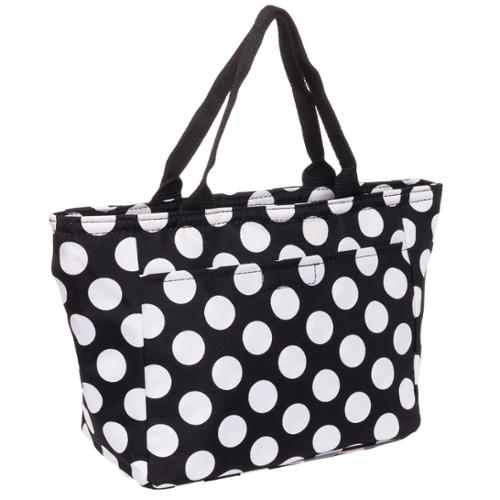 SILVERHOOKS NEW Womens Black & White Polka Dot Insulated School Lunch Tote Bag